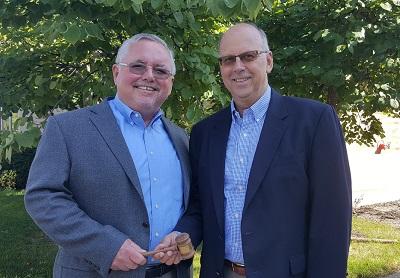 Bob Parish passed the RVIA chairman's gavel to incoming 2019 chairmen Gary Enyart