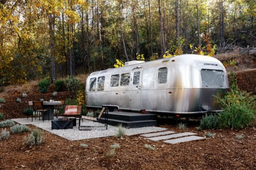 Photo of Airstream trailer at a campsite