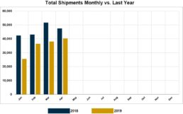 Graph of RVIA's report on monthly wholesale shipments through April of 2019.