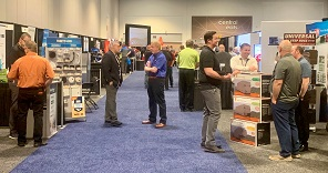 Photo of people milling around the exhibit hall at the Keller Marine & RV Show in Tampa, Fla., 2019.