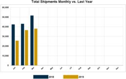 Graph of RVIA's report on monthly wholesale shipments through March of 2019.