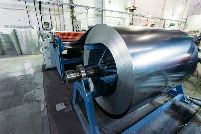 Picture of a roll of rolled steel for metal fabrication