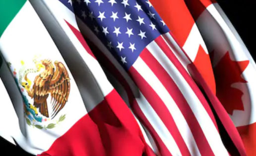 A picture of the Mexican, American and Canadian flags