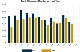 Graph of RVIA's report on monthly shipments Through November of 2019 of