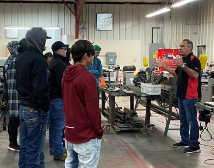 Mark Podeyn of Action RV in New Mexico speaks to high school students about a career path as an RV techician on behalf of RVTI
