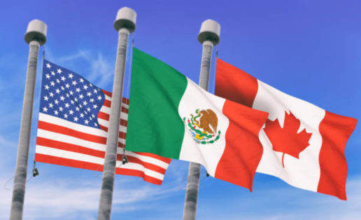 A rendering of the American, Mexican and Canadian flags in front of a blue-sky background