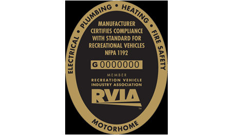 A picture of the RVIA seal indicating the manufacturer certifies compliance with standard for recreational vehicles