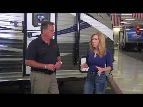 A video about television host Jules Wilson learning about the Solera Smart Arm Awning by Lippert Components