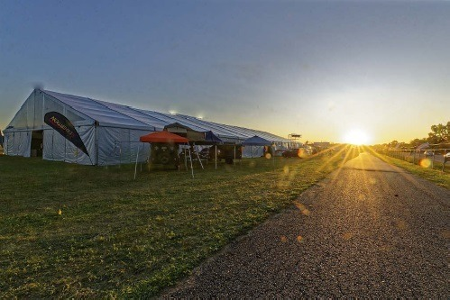A photo of sunrise at the Supplier & Vendor Expo at Elkhart Municipal Airport during Elkhart Open House