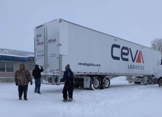 CERV Logistics donated the use of a tractor-trailer to transport Warm Up the Ridge donations to the Pine Ridge Indian Reservation.