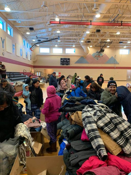 Members of the Oglala Lakota Sioux, many of them descendants of survivors of the Battle of Little Bighorn, receive jackets, bedding and more through the Warm Up the Ridge program.