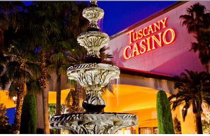 A picture of a fountain in front of the Tuscany Casino in Las Vegas
