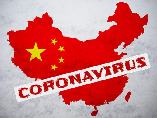 """A picture of the Chinese flag in the shape of China with the word """"coronavirus"""" across the southeast corner of the image"""