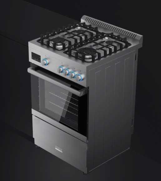 A rendering of Furrion's Professional 24-inch Gas Range