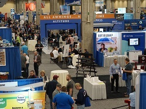 A photo of people milling around at booths at the NTP-Stag Expo 2020