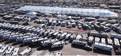 An aerial photo of hundreds RVs parked for the Quartzsite Sports Vacation & RV Show in Quartzsite, Arizona.