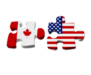 a picture of two puzzle pieces with the Canadian and American flags on them