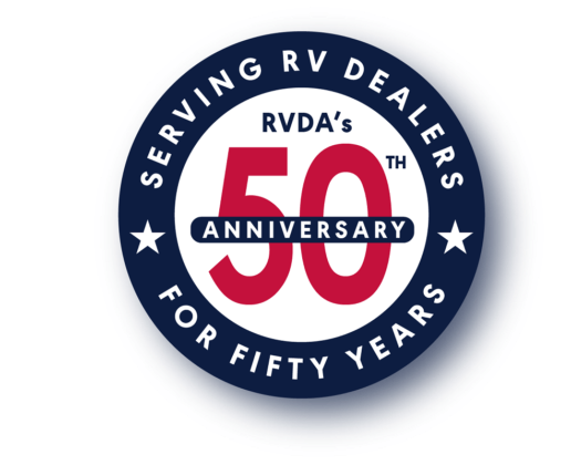 Image of RV Dealers Association (RVDA) 50th anniversary logo