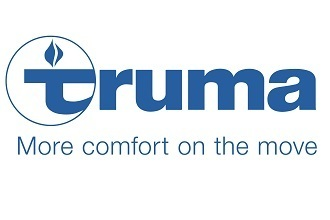 "A picture of the logo for Truma Corporation. The words say, ""Truma. More comfort on the move."""