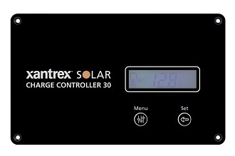 A picture of a Xantrex PWM 30A solar charge controller face plate