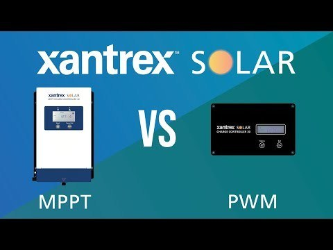 A picture of a Maximum Power Point Tracking (MPPT) charge controller next to a ulse Width Modulation (PWM) charge controller. This side-by-side is for a promotional video in which Xantrex Solar helps consumers decide which charge controller better suits their needs.