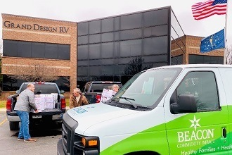 A picture of people unloading medical masks from a truck to be donated to Beacon Health System