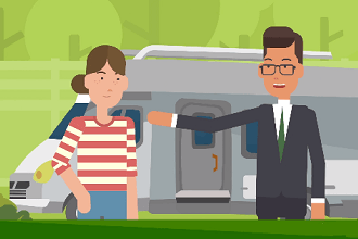 A cartoon image of a man and a woman standing in front of an RV with a green background