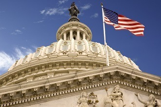 Flag flies over U.S. Capitol building