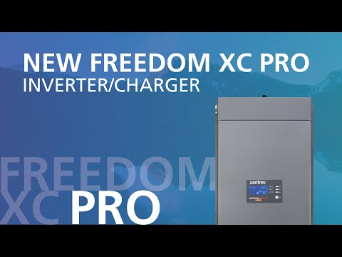 A picture of Xantrex's Freedom XC Pro inverter/charger in front of a blue background. This is a promotional video for the Freedom XC Pro.