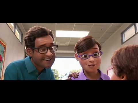 A rendering of a man and a woman both wearing glasses standing in a hallway and talking to a child or other person shorter than them. This is a promotional video for Go RVing and Toy Story 4