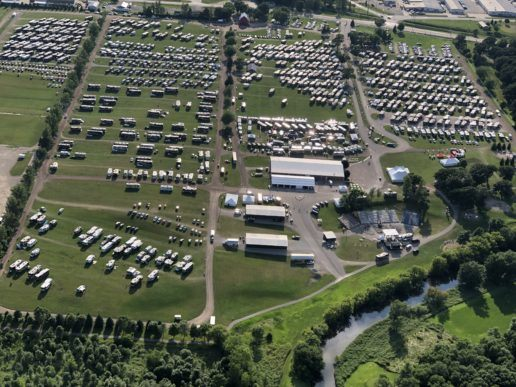 An aerial photo of the 2019 Winnebago Grand National Rally