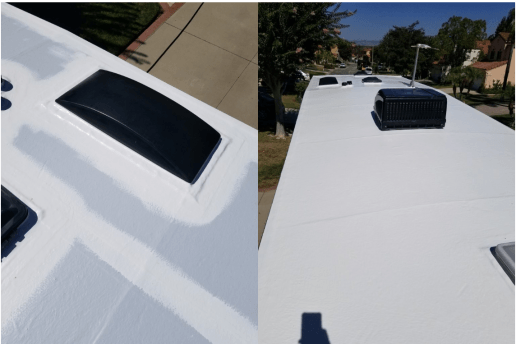 An image of a before and after comparison of an RV Roofing Pros installation