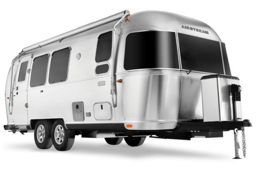 A photo of the exterior of an Airstream travel trailer.