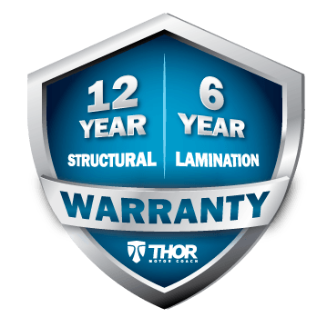 A logo for Thor Motor Coach's new Warranty