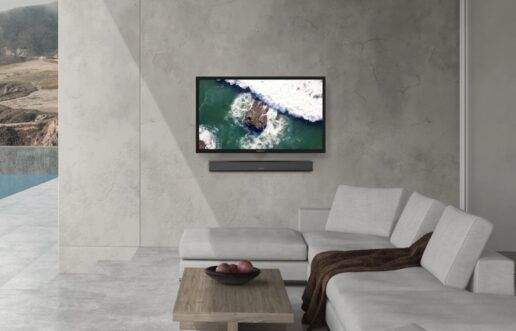 A promotional image for Furrion's outdoor TVs