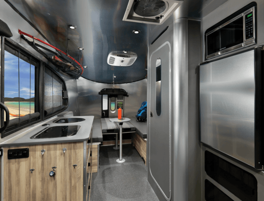 An image of the interior of the new 2021 Basecamp from Airstream