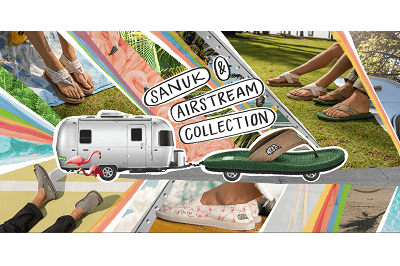 A promotional image for the Sanuk/Airstream footwear line. The image shows an Airstream trailer being pulled by a Sanuk sandal made to look like a car. This art is superimposed on pictures of various people's legs/feet wearing Sanuk shoes.