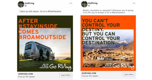 Go RVing marketing images