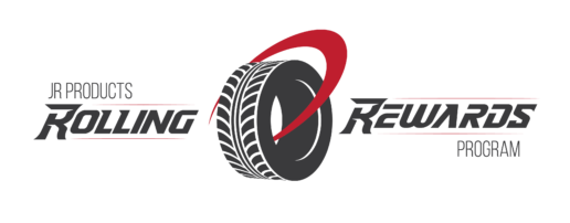 A logo for JR Products Rolling Rewards