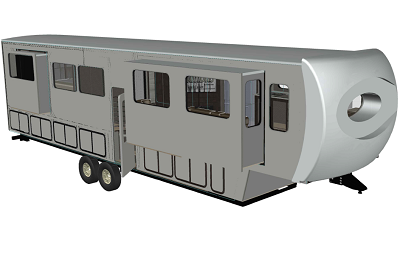 A concept drawing of the exterior of a Columbus ranch-style fifth wheel.