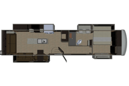 A concept drawing of the floor plan of Palomino's Columbus River Ranch 390RL fifth wheel.