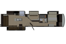A concept drawing of the floor plan of Palomino's Columbus River Ranch 392MB.