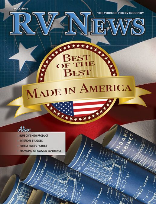 An image of the cover of the July 2020 issue of RV News Magazine