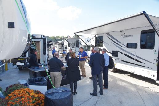 A photo of exhibitors showing RV units at the 2019 Elkhart open house and expo
