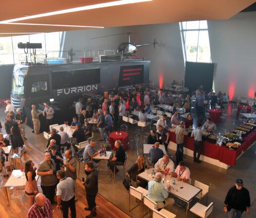 A photo showing attendees gathered inside during the 2019 Elkhart open house and expo