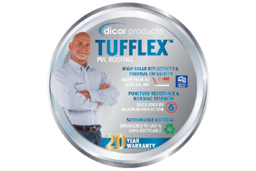 A picture advertising Dicor's new 20-year warranty on Tufflex