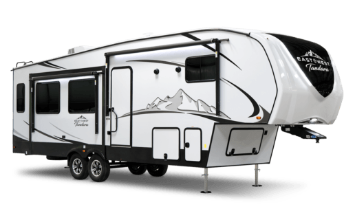 A picture of East to West's 2021 Tandara fifth wheel. The sides of the trailer are white with gray swooshes and a gray rendered mountain graphic.