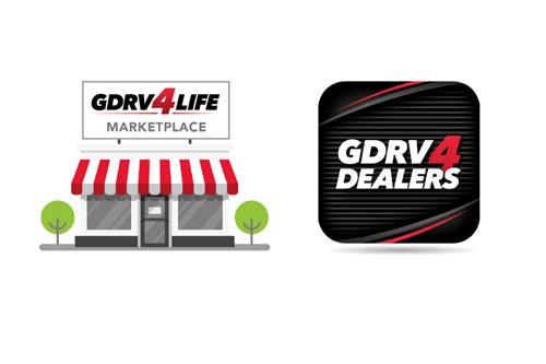 a logo for Grand Design's GDRV4Life Marketplace