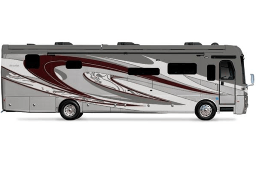 A side-view picture of the 2021 Holiday Rambler Armada. The motorhome is gray witha swooshy maroon and white design.