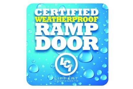 A picture promoting Lippert Components' certified weatherproof ramp door